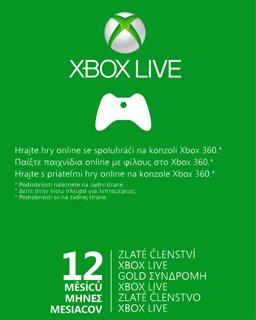 Xbox Live Gold 12 Měsíců Xbox ONE/Xbox 360