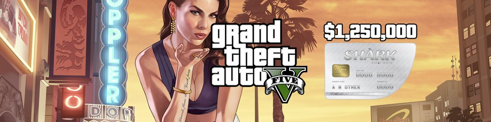 Grand Theft Auto V Online Great White Shark Cash Card 1,250,000$ GTA 5 Xbox One banner